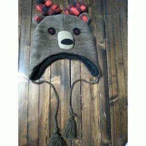 Adult Reindeer Bear Knit Hat